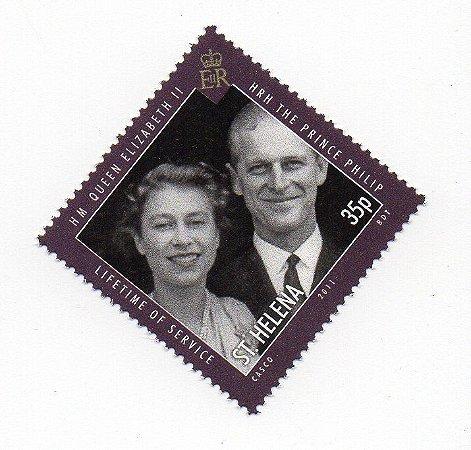 2011 Santa Helena (Ilh Britânica) Folha de selo 35p Príncipe Felipe e Rainha Elizabeth II