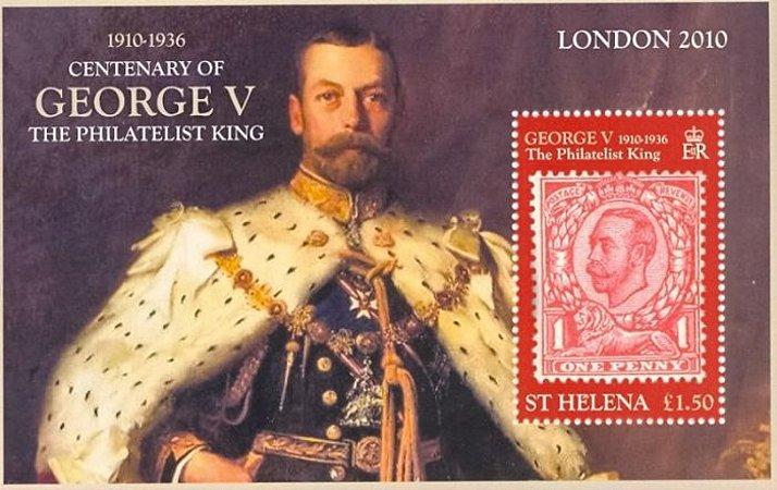 2010 Santa Helena (Ilh Britânica) Bloco Centenário de George V Rei Filatelista