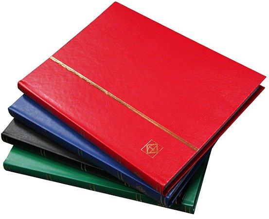 PROMOÇÃO DIA DO FILATELISTA: Álbum 32 páginas fundo preto (fabricação européia: Leuchtturm)  Cores:  vermelho azul, verde e preto