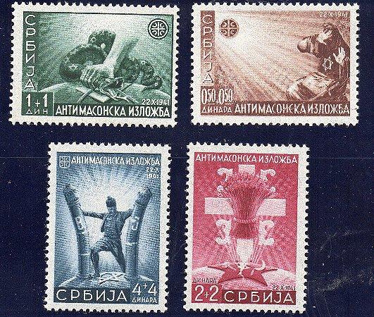 1942 - Ocupação Alemã na Sérvia - 2ª Guerra Mundial 1942 - Selos Postais Anti-maçonaria Exposição Belgrado MINT