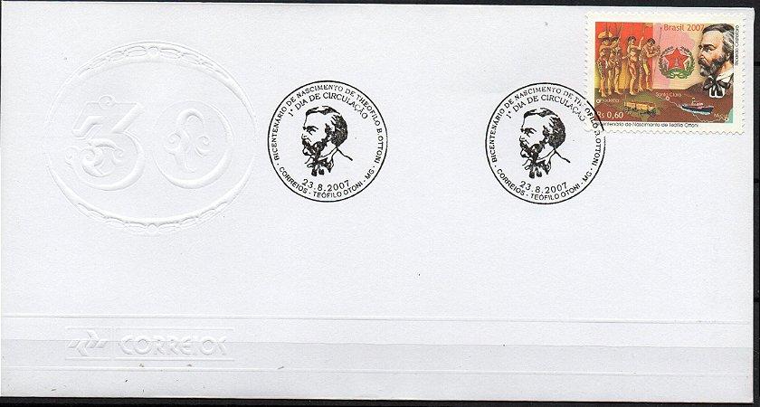 2007 FDC (olho-de-bo) Bicentenário do maçom Teófilo Ottoni