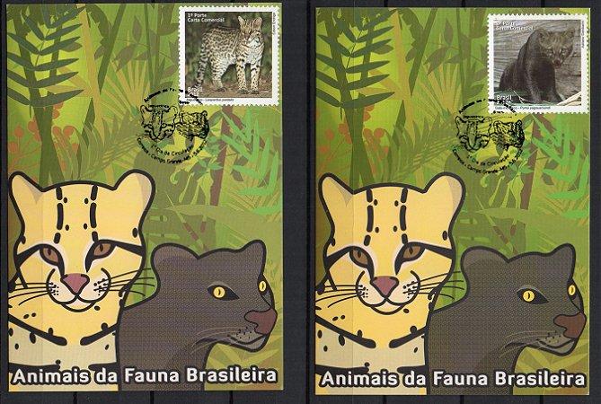 2012 Máximos postais (Conjunto de dois MP oficiais) Animais da Fauna Brasileira - Jaguatirica e Gato-mourisci