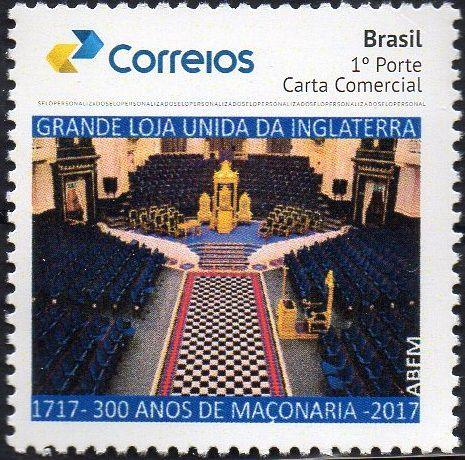 2017 300 anos da Maçonaria Universal - selo personalizado Interior do Templo da Grande Loja inglesa