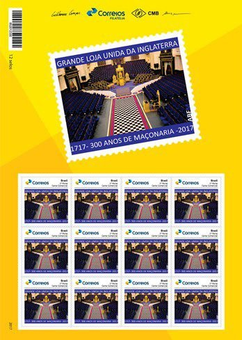 2017 300 anos da Maçonaria - interior do Templo Folha com 12 selos MINT - 300 years of Masonry Sheet of 12 stamps