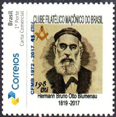 2017 198 anos do maçom Hermann Bruno Otto Blumenau - selo personizado