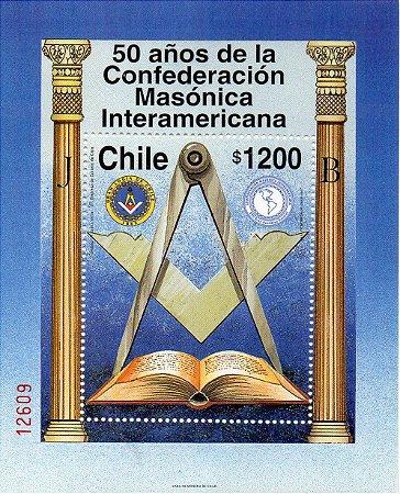 1997 Chile 50 ano da Confederação da Maçonaria Interamericana - Bloco MINT