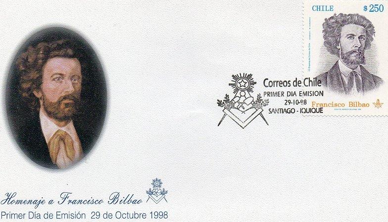 1998 Chile FDC (oficial) Homenagem a  Francisco Bilbao - maçom
