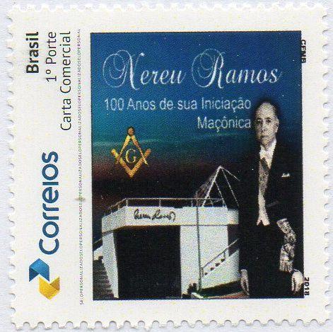 2018 Nereu Ramos Centenário de sua iniciação à Maçonaria - Selo personalizado