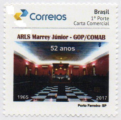 2017 Loja Maçônica Marrey Júnior GOP - COMAB 52 anos de fundação Selo personalizado