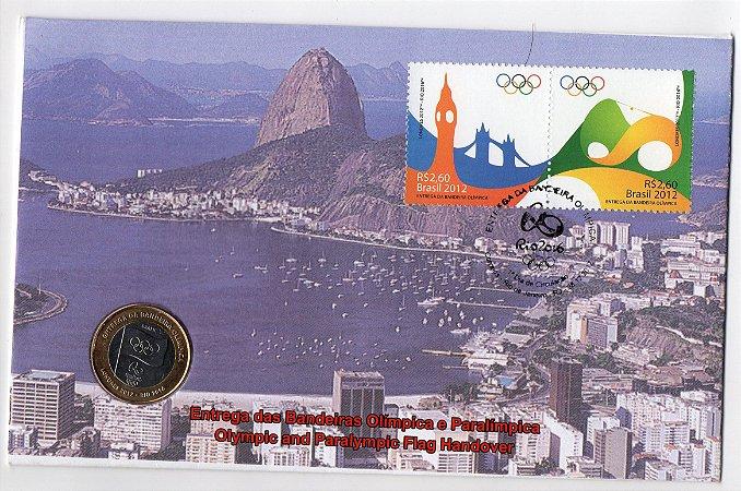 2012/2015 FDC-M (não oficial) Entrega da Bandeira Olímpica mais Moeda entrega da Bandeira Rio 2016