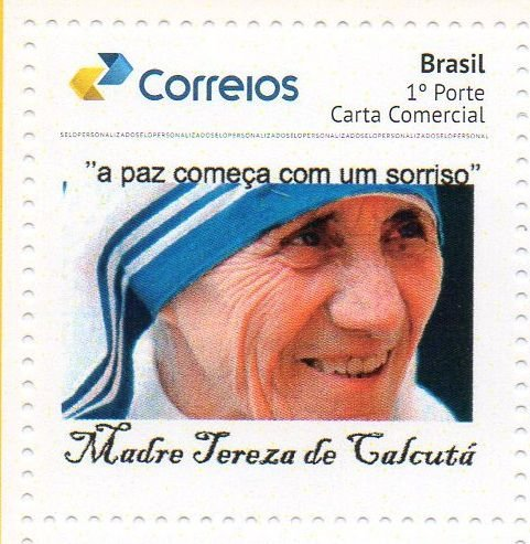 2017 Madre Tereza de Calcutá - Campanha pela paz mundial - Selo personalizdo