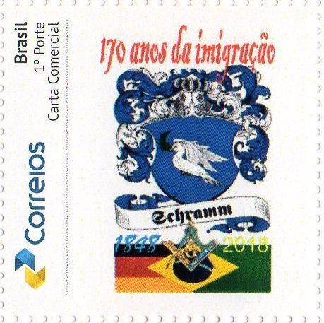 2018 170 anos da Imigração da Família Schramm (SP Selo personalizado) Mint