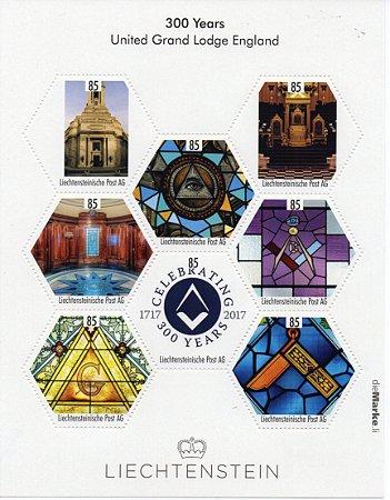 2017 Liechtenstein 300 anos da Grande Loja Unida da Inglaterra Minifolha personalizada