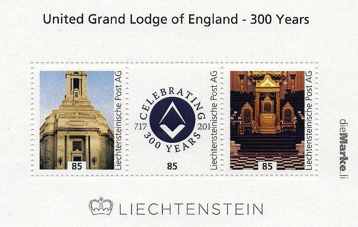 2017 Liechtenstein 300 anos da Grande Loja Unida da Inglaterra Bloco personalizado autoadesivo