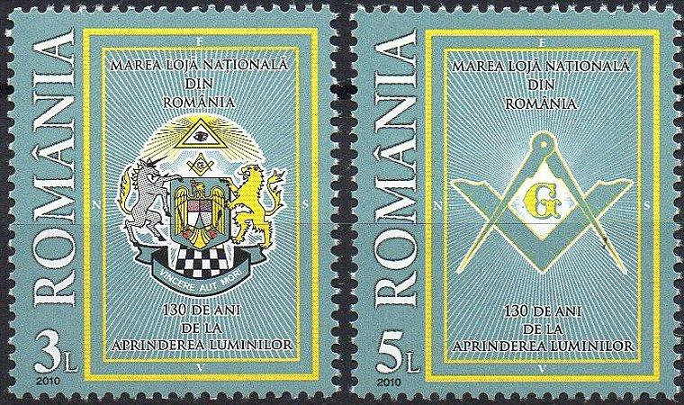 2010 Romenia 130 anos da Grande Loja (mint) série 2 selos