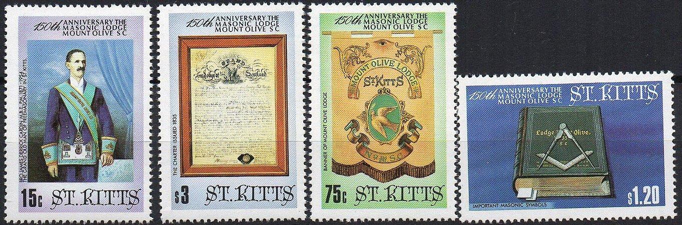 1985 St. Kitts 150 anos da Loja Mount Olive (série Mint)