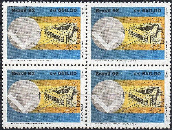 1992 Homenagem ao Grande Oriente do Brasil quadra mint perfeita