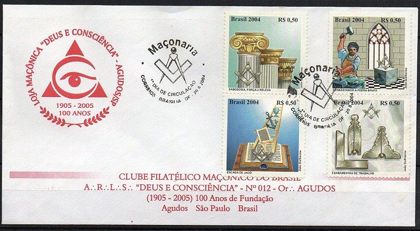 2004 Maçonaria  FDC (não oficial)  envelope Loja Maçônica Agudos