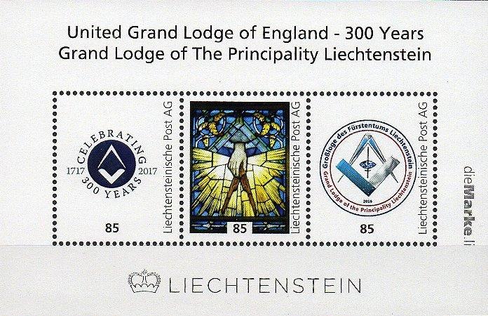 2017 Liechtenstein 300 anos da Grande Loja Unida da Inglaterra e Grande Loja de Liechtenstein Bloco (pers) autoadesivo