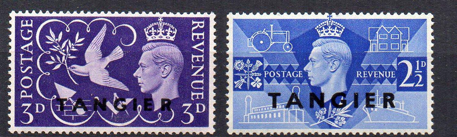 1946 Inglaterra/Tânger série aniversário da Rainha Vitória - figura o Rei George VI - Grão Merstre