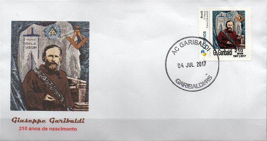 2017 Envelope personalizado 210 anos de G Garibaldi (desenho) novo não circulado
