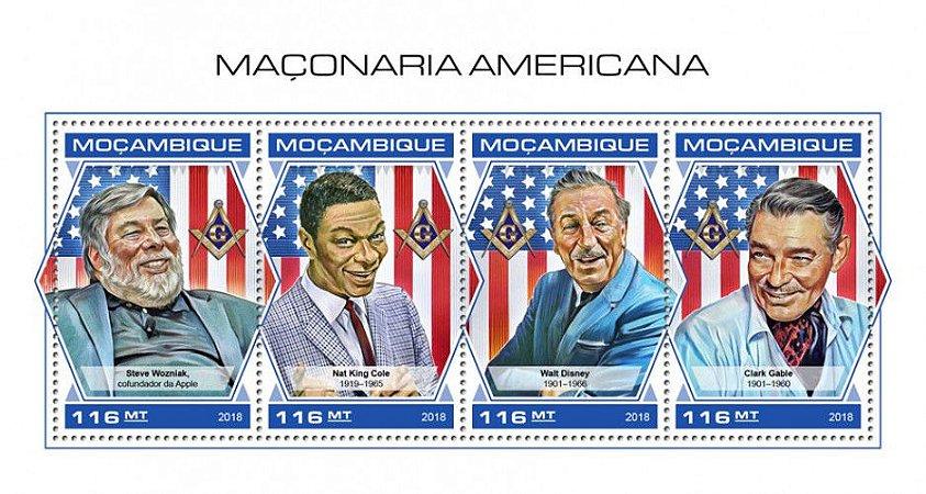 2018 Moçambique - Roosevelt - Maçons Americanos  bloco com 4 selos  Mint