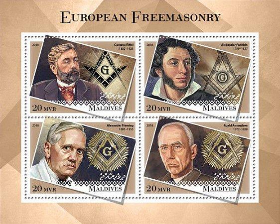 2018 Maldivas - Maçons europeus - lindo bloco com 4 selos