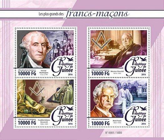 2016 Guiné - Franco Maçons - Bloco de 4 selos