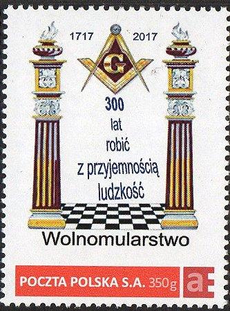 2017 Polônia 300 anos da Maçonaria personalizado (mint)