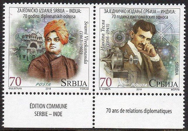 2018 Sérvia - Swami maçom e Tesla - Relações diplomáticas -  Índia - (mint)