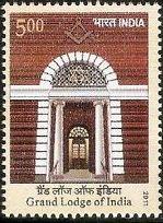 2011 Índia Selo 50 anos da Grande Loja Maçônica da Índia novo não circulado
