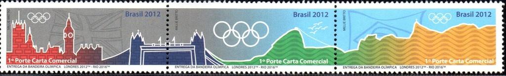 2012/2015 Série Entrega da Bandeira Olímpica (mint) Series Olympic flag Delivery