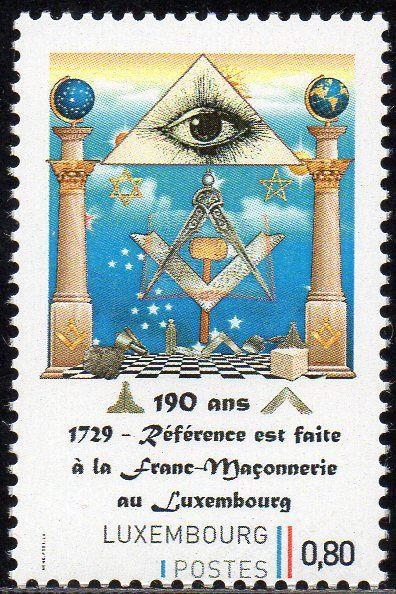 2019 Luxemburgo 190 anos da chegada da Maçonaria  selo personalizado