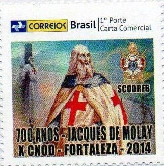 2014 Selo Personalizado 700 anos do Martírio de Jacques De Molay - X Congresso DeMolay