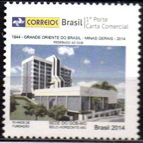 Selo Personalizado 70 anos do Grande Oriente do Brasil - Minas Gerais (mint)