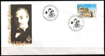 2013 Envelope 130 anos do maçom e escritor Kalil Gibran