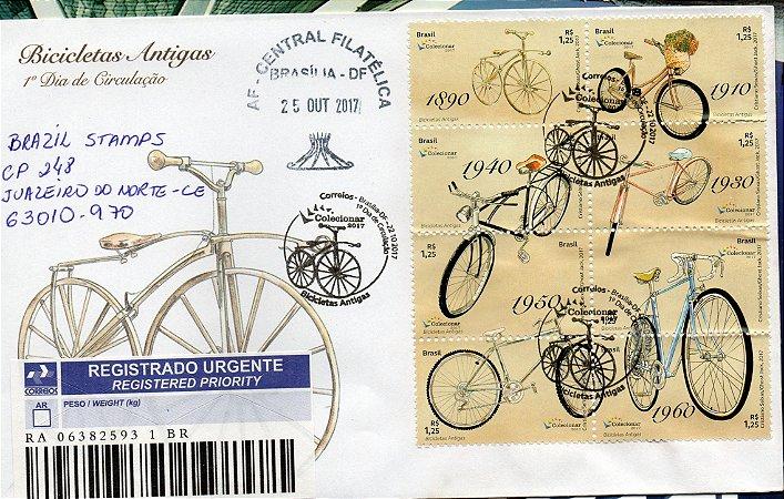 2017 - Bicicletas antigas - FDC circulado linda peça com extinto carimbo datador AFBSB e de 1º dia - raro circulado