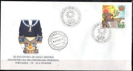 2014 Envelope Comemorativo XI Encontro de Grãos Mestres e Fraternidade Feminina - Fortaleza - Ceará