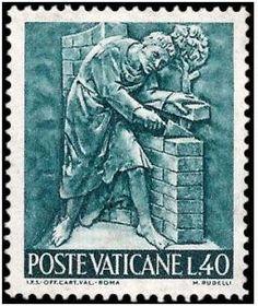 1966 Vaticano - Trabalho e arte: Pedreiro, artesão, arquiteto, entre outros - série completa 12 selos (mint)