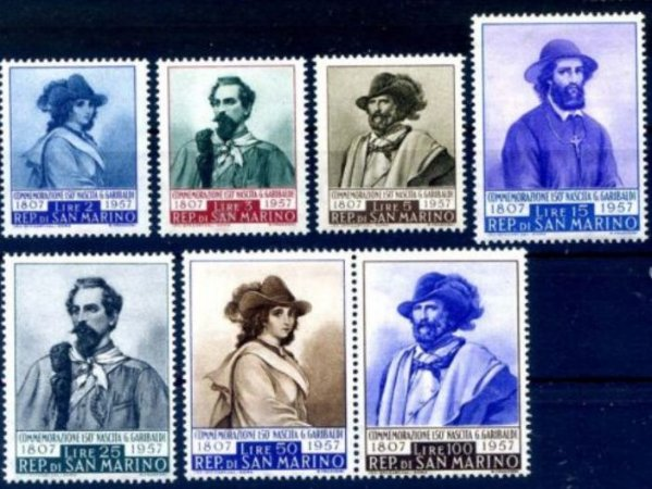 1957 San Marino 150 anos de G. Garibaldi série completa (mint)