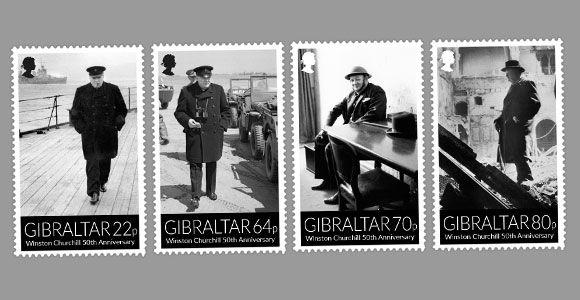 2015 2015 Gibraltar Winston Churchil, maçom, série de 4 selos  - 50 anos de seu falecimento