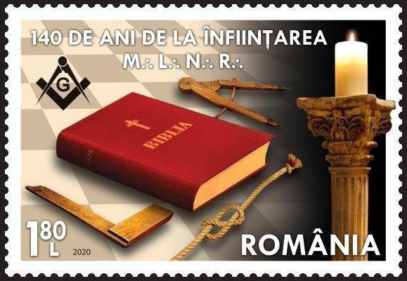 2020 Romênia Grande Loja Maçônica Nacional, 140 anos de Fundação - Biblia e logo (mint)