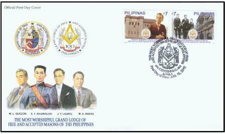 2012 Filipinas 100 anos da Grande Loja Maçônica do maçons aceitos FDC Oficial raro