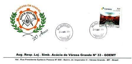 2015 - ENVELOPE COM SELO PERSONALIZADO ALUSIVO AOS 20 ANOS DA LOJA ACÁCIA DE VÁRZEA GRANDE/MT