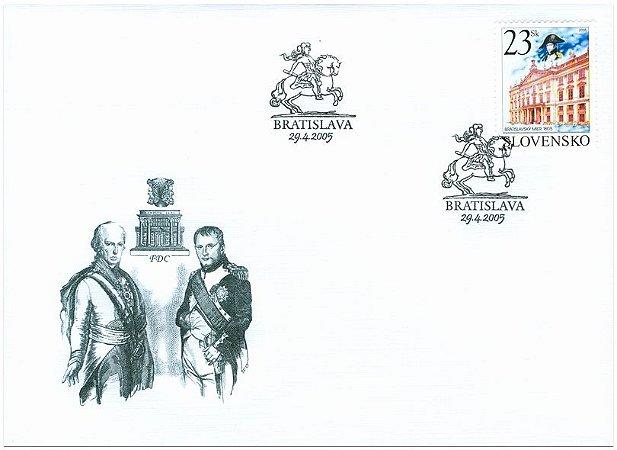 2005 Eslováquia - Napoleão, Imperador e maçom francês,  em Bratislava 1805 FDC (novo),