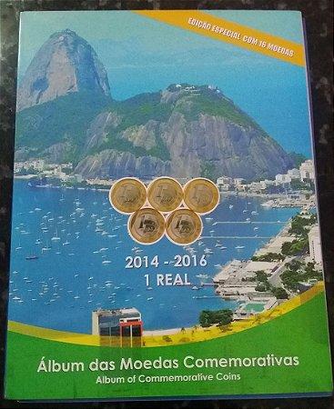 ÁLBUM PARA MOEDAS OLÍMPICAS  RIO 2016 EDIÇÃO ESPECIAL PARA 16 MOEDAS