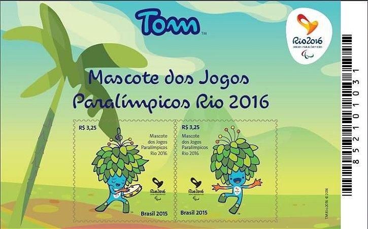 2015 - JOGOS OLÍMPICOS E PARALÍMPICOS: BLOCOS MASCOTES TOM E VINICIUS (Block mint) Olympic Mascot
