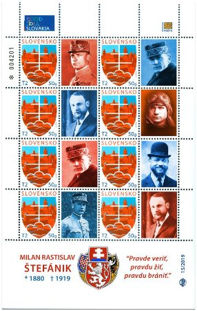 2019 - Eslováquia - Milan Rastislav Štefánik, político e maçom - folha de selo comemorativa