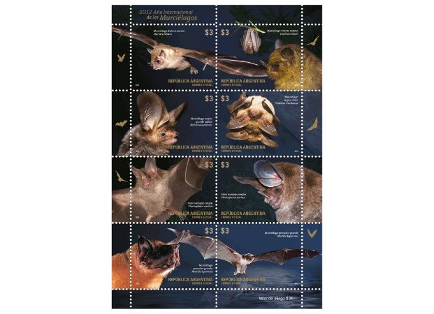 2012 Argentina - Série Morcegos (08 selos Mint)