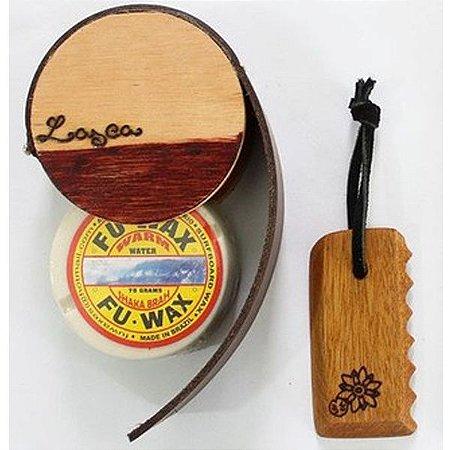 Kit Porta Parafina e Raspador (com parafina Fu Wax)